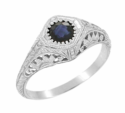 Art Deco Sapphire Filigree Engraved Sunflowers Engagement Ring in 14 Karat White Gold, Low Profile 1920s Antique Sapphire Ring Design