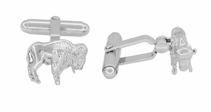 Buffalo Cufflinks in Sterling Silver - Bison Cufflinks - Click to enlarge