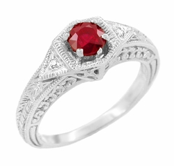 Art Deco Ruby and Diamond Filigree Engraved Engagement Ring in 14 Karat White Gold