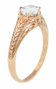 Art Deco Scrolls and Wheat White Sapphire Solitaire Filigree Engraved Engagement Ring in 14 Karat Rose Gold - Item R688RWS - Image 1