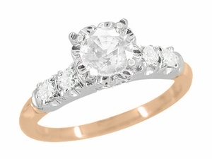 Mid Century Diamond Engagement Ring in Two Tone 14K White and Rose Gold - Item R728RD - Image 1