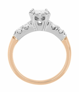Mid Century Diamond Engagement Ring in Two Tone 14K White and Rose Gold - Item R728RD - Image 2