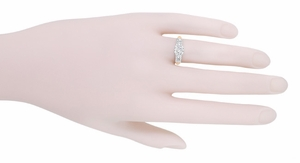 Mid Century Diamond Engagement Ring in 14 Karat White and Rose ( Pink ) Gold - Item R728RD - Image 4