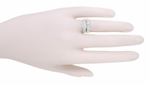 Mid Century Diamond Engagement Ring in 14 Karat White and Rose ( Pink ) Gold - Item R728RD - Image 5
