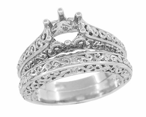 Filigree Flowing Scrolls Edwardian Vintage Style Engagement Ring Setting for a 1.25 - 2.00 Carat Diamond in 14 Karat White Gold - Click to enlarge