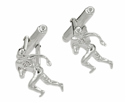 Football Player Cufflinks in Sterling Silver