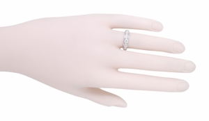 Southford Art Deco Antique Platinum and Diamond Filigree Wedding Band - Size 5 - Item R999 - Image 1
