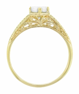 Art Deco 18K Yellow Gold Carved Wheat and Scrolls White Sapphire Solitaire Filigree Engagement Ring - Item R688YWS - Image 2