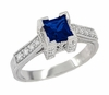 Art Deco 3/4 Carat Princess Cut Sapphire and Diamond Engagement Ring in Platinum