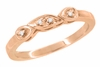 Filigree Retro Moderne Diamond Wedding Ring in 14 Karat Rose Gold