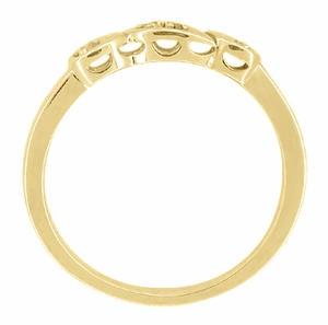 Retro Moderne Diamond Set Filigree Wedding Ring in 14 Karat Yellow Gold - Click to enlarge