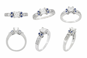 Eternal Stars Sapphire Side Stones Engraved Fleur De Lis Engagement Ring Mounting for a 3/4 Carat Princess Cut Diamond 14K White Gold - Item R841S - Image 7