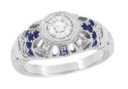 Art Deco Diamond and Sapphire Filigree Engagement Ring in 14 Karat White Gold