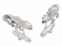 Alligator Cufflinks in Sterling Silver