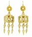 Victorian Engraved Dangle Pearl Earrings in 15 Karat Yellow Gold