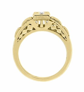 Art Deco Filigree Diamond Engagement Ring in 14 Karat Yellow Gold - Item R160Y - Image 4