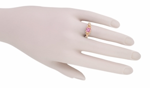 Loving Hearts Princess Cut Pink Sapphire Antique Style Engraved Engagement Ring in 14 Karat Rose ( Pink ) Gold - Item R459RPS - Image 4