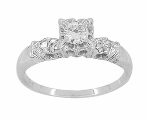 Retro Moderne Illusion Vintage Diamond Engagement Ring in 14 Karat White Gold - Click to enlarge