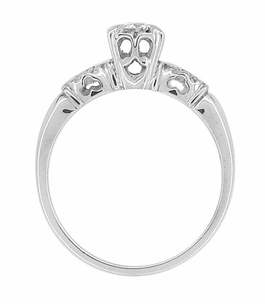 Retro Moderne Illusion Vintage Diamond Engagement Ring in 14 Karat White Gold - Item R727 - Image 2