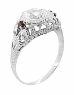 Edwardian Filigree Garnet and Diamond Vintage Engagement Ring in 18 Karat White Gold - Item R865 - Image 1