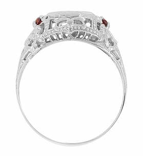 Edwardian Filigree Garnet and Diamond Vintage Engagement Ring in 18 Karat White Gold - Item R865 - Image 2