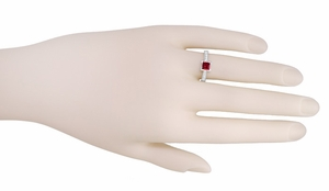 Art Deco 1/2 Carat Square Ruby and Diamond Engagement Ring in 18 Karat White Gold - Item R661RU - Image 2