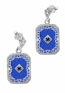 Art Deco Filigree Royal Blue Sun Ray Crystal and Sapphire Earrings with Diamond in Sterling Silver - Item E155DB - Image 1