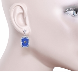 Art Deco Filigree Royal Blue Sun Ray Crystal and Sapphire Earrings with Diamond in Sterling Silver - Item E155DB - Image 2