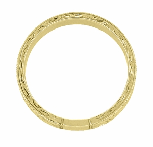 Men's Art Deco Antique Scrolls Engraved Wedding Band in 18 Karat Yellow Gold - Item WR199MY - Image 3