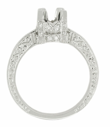 Art Deco Knife Edge Engraved Crown Engagement Ring Setting for a 3/4 Carat Diamond in 18K White Gold | Vintage Ring Mount