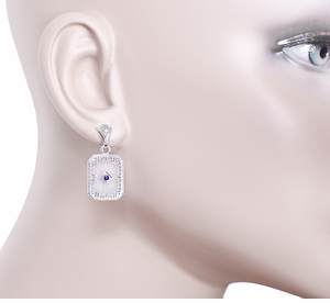 Art Deco Filigree Blue Sapphire and Diamond Crystal Earrings in Sterling Silver - Item E155 - Image 2