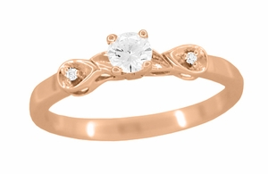 Retro Moderne 1/4 Carat Certified Diamond Engagement Ring in 14 Karat Rose Gold | 1940's Vintage Replica