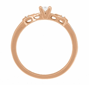 Retro Moderne 1/4 Carat Diamond Engagement Ring in 14 Karat Rose Gold - Item R380R25 - Image 2