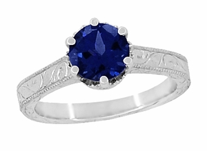Art Deco Crown Filigree Scrolls 1.5 Carat Blue Sapphire Engraved Engagement Ring in 18 Karat White Gold - Click to enlarge