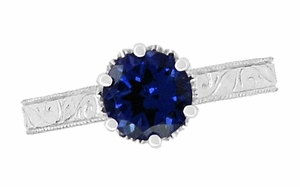 Art Deco Crown Filigree Scrolls 1.5 Carat Blue Sapphire Engraved Engagement Ring in 18 Karat White Gold, Simple Antique Sapphire Engagement Ring Design - Click to enlarge