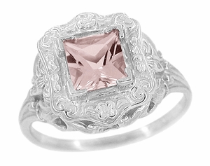 Princess Cut Morganite Art Nouveau Ring in 14 Karat White Gold - Click to enlarge