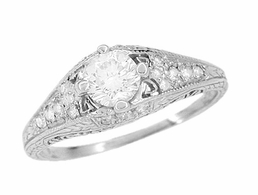 Art Deco Filigree Diamond Engagement Ring in Platinum