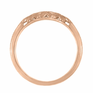Art Deco Flowers and Wheat Engraved Filigree Wedding Band in 14 Karat Rose Gold - Item WR356R - Image 4