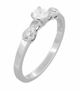 Retro Moderne White Sapphire Engagement Ring in 14 Karat White Gold - Click to enlarge
