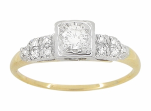 Art Deco Diamond Antique Engagement Ring in 14 Karat White and Yellow Gold - Ethical Diamond Engagement Ring - Click to enlarge