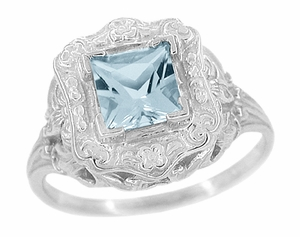 Princess Cut Aquamarine Art Nouveau Ring in 14 Karat White Gold - Item R615 - Image 1