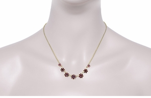 Victorian Bohemian Garnet Floral Necklace in Sterling Silver Vermeil - Click to enlarge