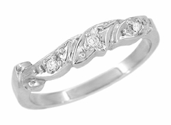 Art Deco Diamond Set Filigree Scrolls Wedding Ring in 14 Karat White Gold