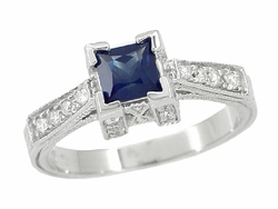 Art Deco 1/2 Carat Princess Cut Square Sapphire and Diamond Engagement Ring in Platinum
