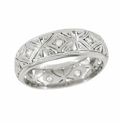 Art Deco Diamonds Antique Filigree Wedding Band in Platinum - Size 5