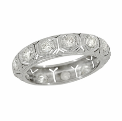 Southford Art Deco Antique Platinum and Diamond Wedding Band - Size 5