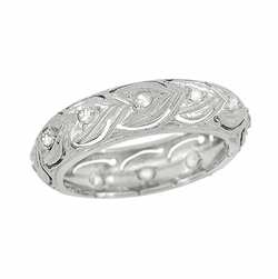 Art Deco Diamonds and Hearts Springdale Antique Engraved Wedding Band in Platinum - Size 5