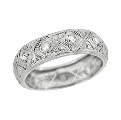 Art Deco Geometric Antique Diamond Wedding Band in Platinum - Size 5 3/4