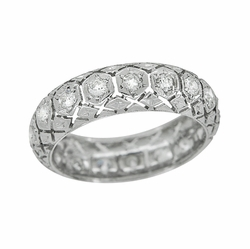 Art Deco Branford Antique Diamond Filigree Wedding Ring in Platinum - Size 5 3/4