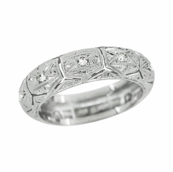 Art Deco Chesterfield Diamond Antique Engraved Filigree Wedding Band in Platinum - Size 5 3/4